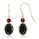 Gem Stone King 3.56 Ct Oval Black Sapphire Red Rhodolite Garnet 14K Yellow Gold Earrings