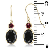 3.56 Ct Oval Black Sapphire Red Rhodolite Garnet 14K Yellow Gold Earrings