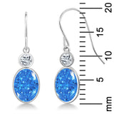 2.70 Ct Fancy Blue 14K White Gold Earrings Made With Swarovski Zirconia