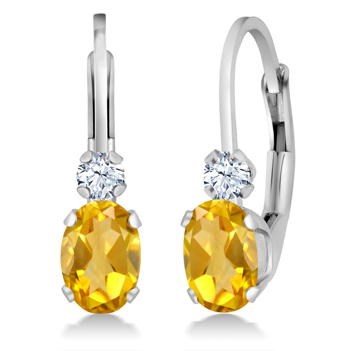 Gem Stone King 0.88 Ct Oval Yellow Citrine White Created Sapphire 14K White Gold Earrings