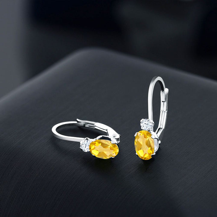 0.88 Ct Oval Yellow Citrine White Created Sapphire 14K White Gold Earrings