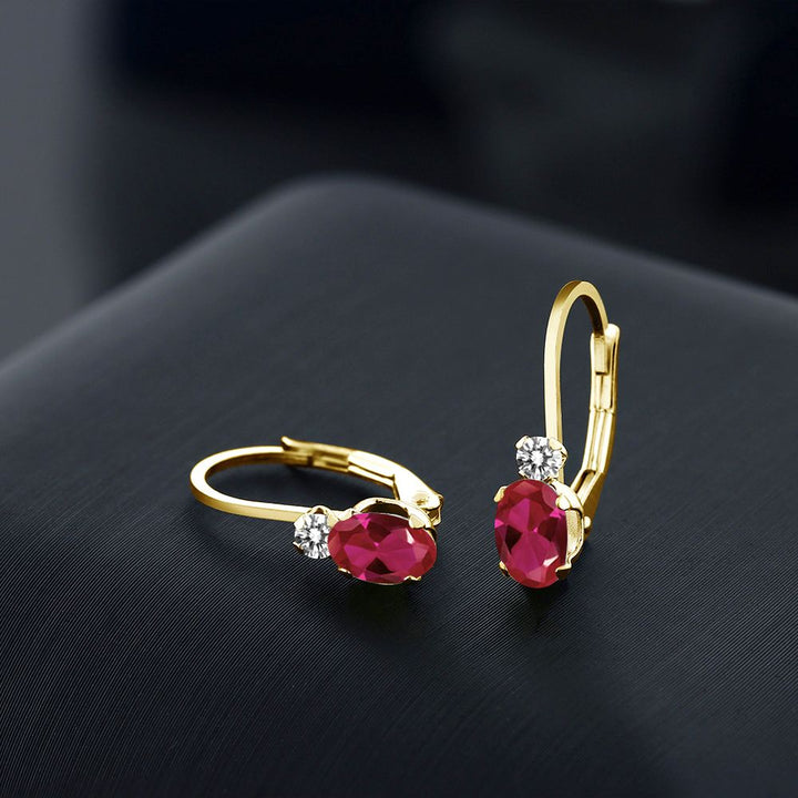 1.07 Ct Oval Red Created Ruby White Diamond 14K Yellow Gold Earrings