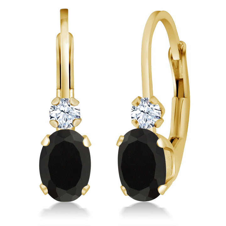 Gem Stone King 0.86 Ct Oval Black Onyx White Created Sapphire 14K Yellow Gold Earrings