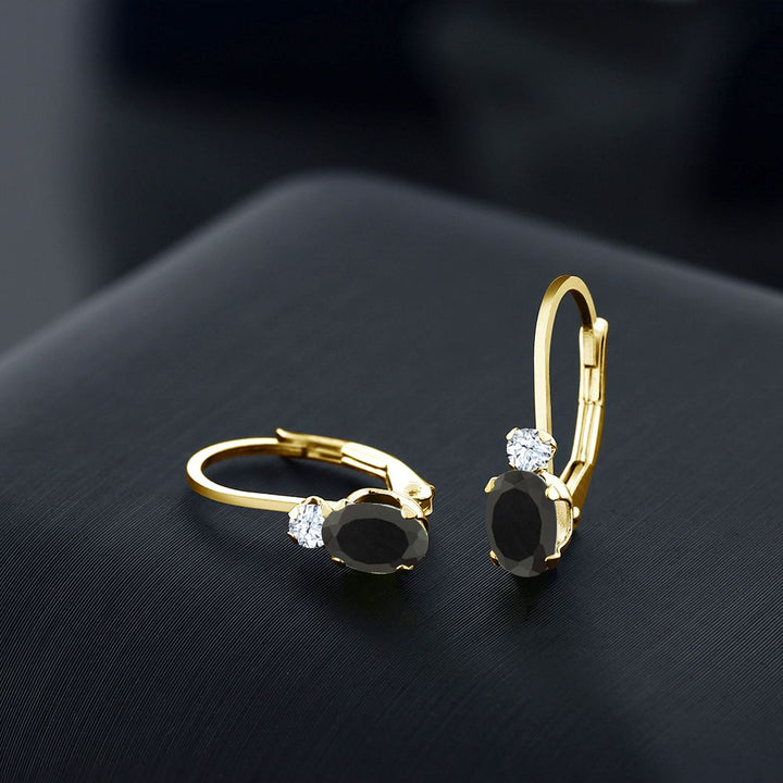 0.86 Ct Oval Black Onyx White Created Sapphire 14K Yellow Gold Earrings