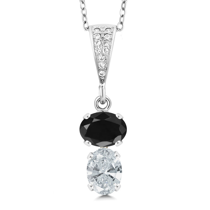 Gem Stone King 2.94 Ct Oval Black Sapphire 925 Sterling Silver Pendant with 18 inch Chain