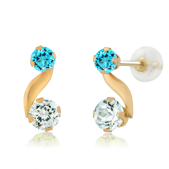 Gem Stone King 0.74 Ct Round Sky Blue Aquamarine Swiss Blue Topaz 14K Yellow Gold Earrings