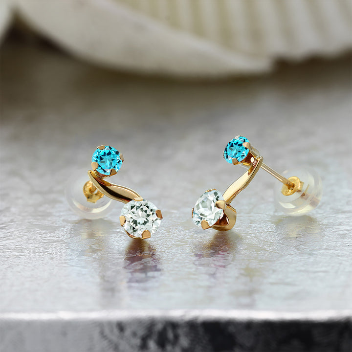 0.74 Ct Round Sky Blue Aquamarine Swiss Blue Topaz 14K Yellow Gold Earrings