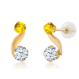 Gem Stone King 0.93 Ct Round White Topaz Yellow Sapphire 14K Yellow Gold Earrings