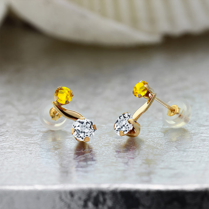 0.93 Ct Round White Topaz Yellow Sapphire 14K Yellow Gold Earrings