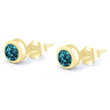 Gem Stone King 1.10 Ct Round 5mm London Blue Topaz 14K Yellow Gold Stud Earrings