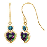 Gem Stone King 1.44 Ct Heart Shape Green Mystic Topaz Blue Diamond 14K Yellow Gold Earrings
