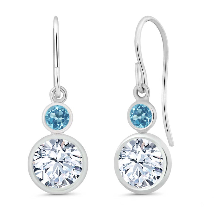 Gem Stone King 1.98 Ct Round White Zirconia Swiss Blue Topaz 925 Sterling Silver Earrings