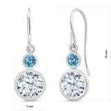1.98 Ct Round White Zirconia Swiss Blue Topaz 925 Sterling Silver Earrings