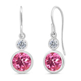 Gem Stone King 2.20 Ct Round Pink Mystic Topaz G/H Diamond 925 Sterling Silver Earrings