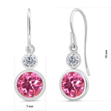 2.20 Ct Round Pink Mystic Topaz G/H Diamond 925 Sterling Silver Earrings