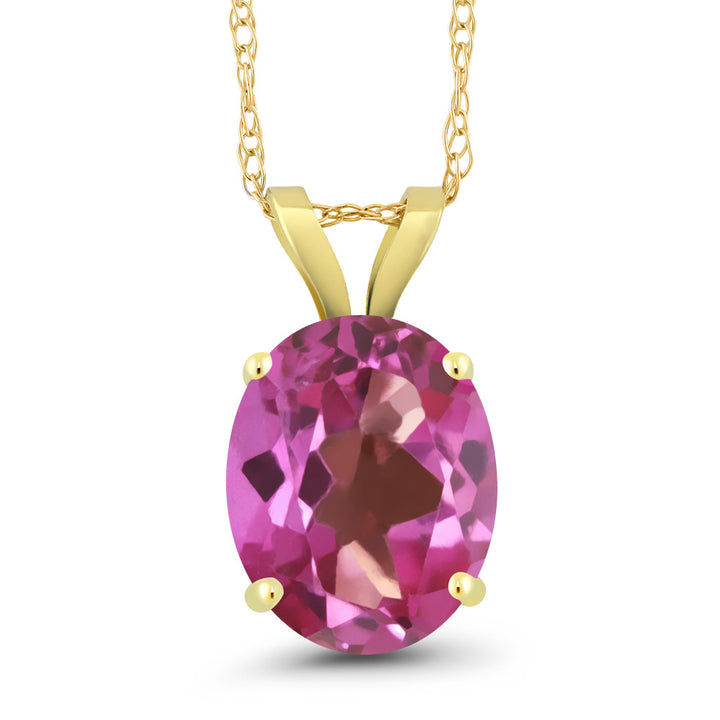 Gem Stone King 2.70 Ct Oval Pink Mystic Topaz 14K Yellow Gold Pendant With Chain