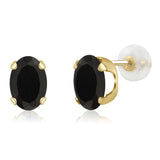 Gem Stone King 2.50 Ct Oval 8x6mm Black Onyx 14K Yellow Gold Stud Earrings