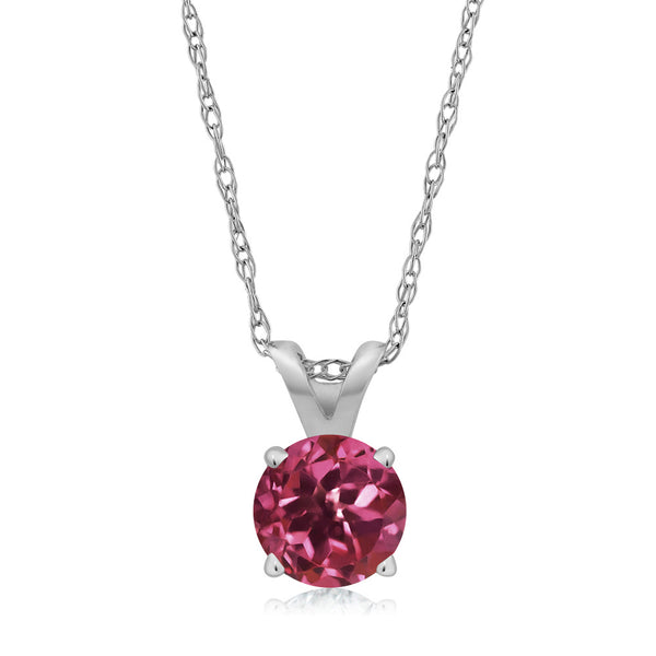 0.24 Ct Round Pink Tourmaline 14K White Gold Pendant With Chain