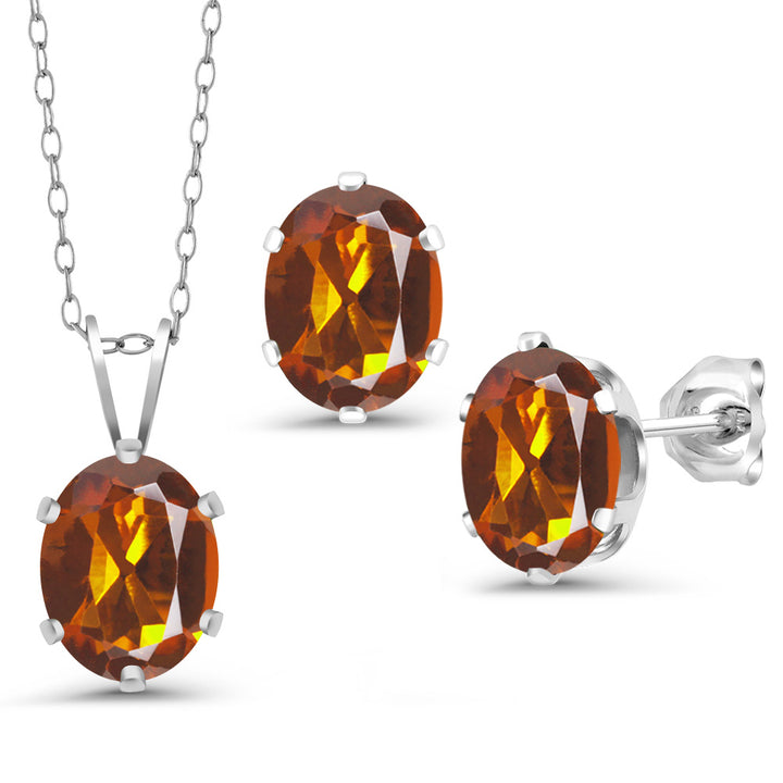 Gem Stone King 3.30 Ct Orange Red Madeira Citrine 925 Silver Pendant Earrings Set With Chain