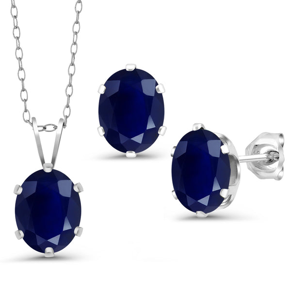 32fb8e17d 5.37 Ct Oval Blue Sapphire 925 Sterling Silver Pendant Earrings Set With  Chain