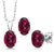 925 Sterling Silver Pendant Earrings Set with Blazing Red Topaz from Swarovski