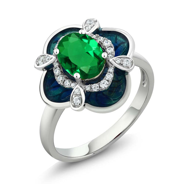Gem Stone King 1.29 Ct Oval Green Simulated Emerald 925 Sterling Silver Enamel Flower Ring