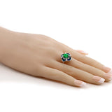 1.29 Ct Oval Green Simulated Emerald 925 Sterling Silver Enamel Flower Ring