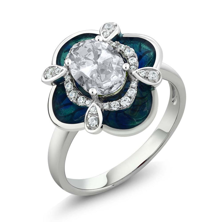 Gem Stone King 1.59 Ct Oval White Topaz 925 Sterling Silver Enamel Flower Ring
