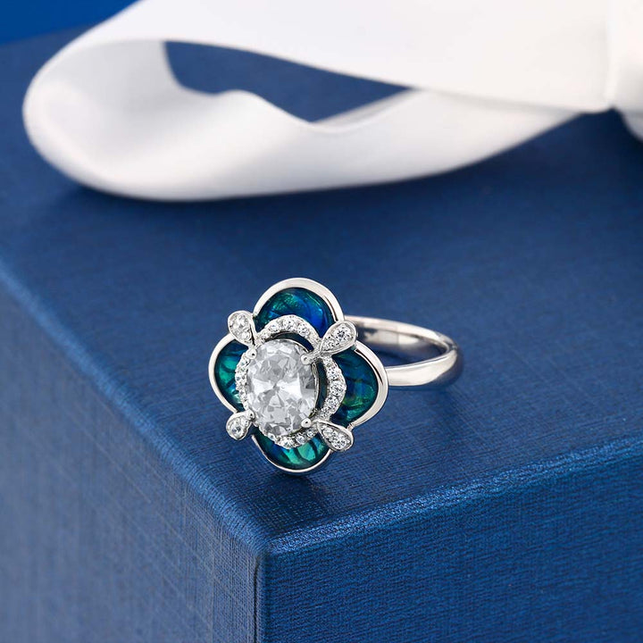 1.59 Ct Oval White Topaz 925 Sterling Silver Enamel Flower Ring