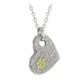 Gem Stone King Sterling Silver White and Yellow Clear Zirconia Heart Pendant W/18inches Silver Chain