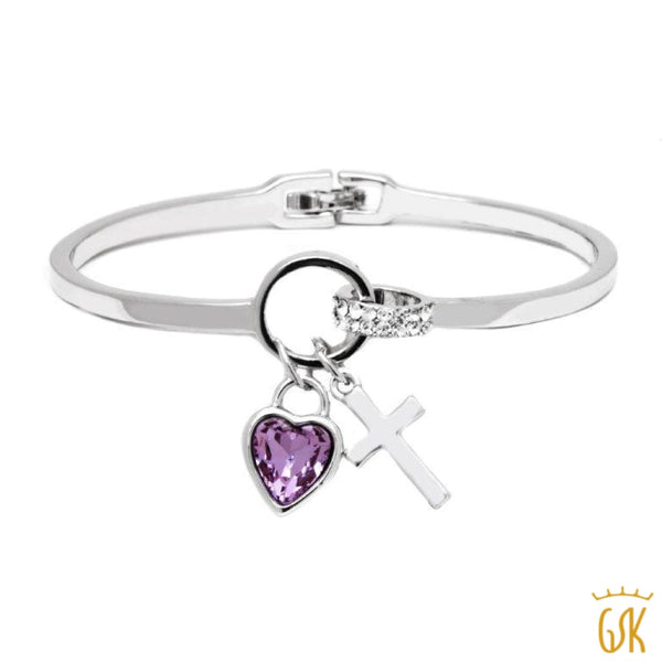 ced44024b8262 Bangle Bracelet W  Purple Heart   White Crystals and Cross Charms