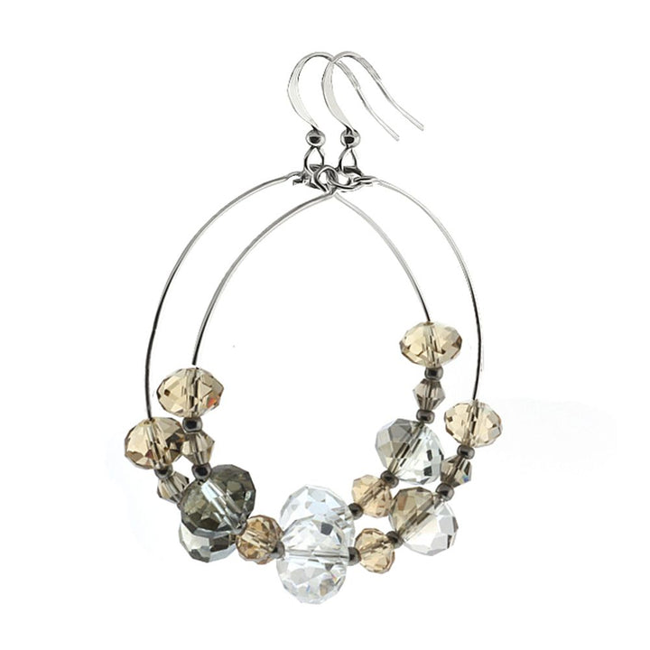 Gem Stone King Multi-Color Faceted Bead Crystal Dangle Hoop Earrings 1.5inches