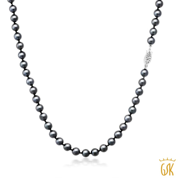 Beautifiul 5mm Cultured Akoya Black Pearl Necklace Set In 14K White Gold