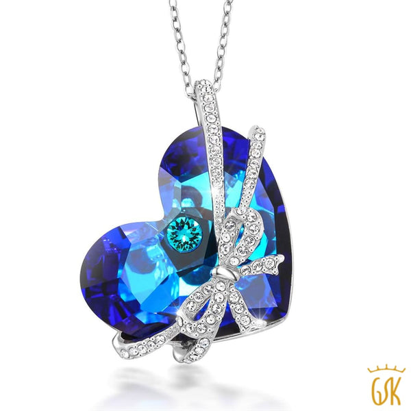 Bermuda Blue Encased Ribbon Heart Pendant Made with Swarovski® Crystals