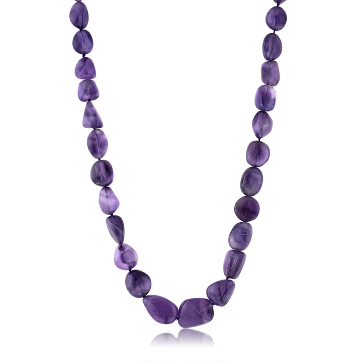 "300 Ctw Amethyst Tumble String 20 Inch Necklace with Clasp 2"" Extender"