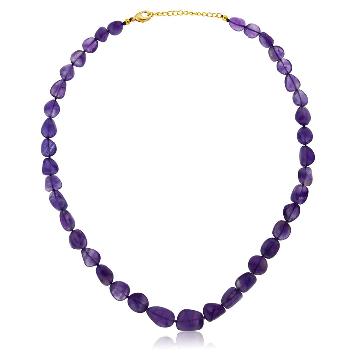 Gem Stone King 300 Ctw Amethyst Tumble String 20 Inch Necklace with Clasp 2 Inch Extender
