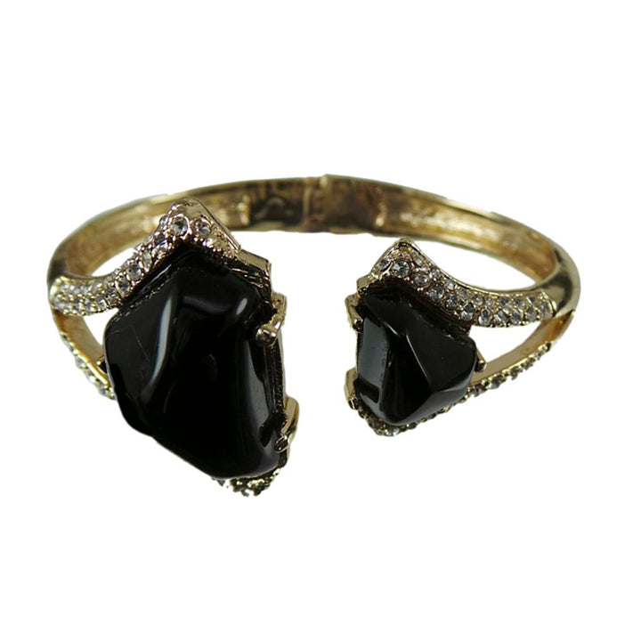 Gem Stone King Gold Color Open Bangle Bracelet with 2 Black Stones and White Zirconia