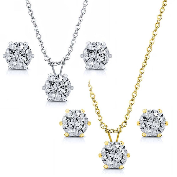 "6.00 Ctw White CZ Two Set of Yellow & White Pendant and Earrings with 18"" Chain"