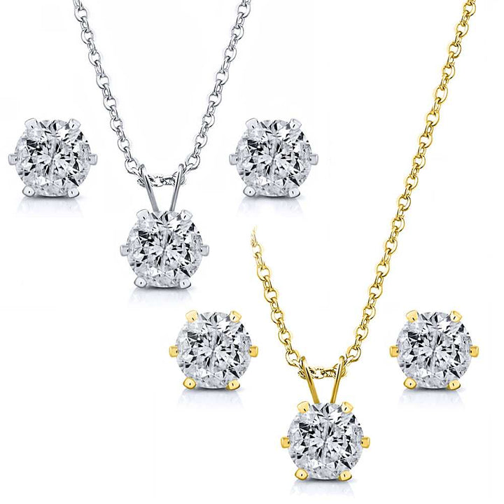 "Gem Stone King 6.00 Ctw White CZ Two Set of Yellow & White Pendant and Earrings with 18"" Chain"