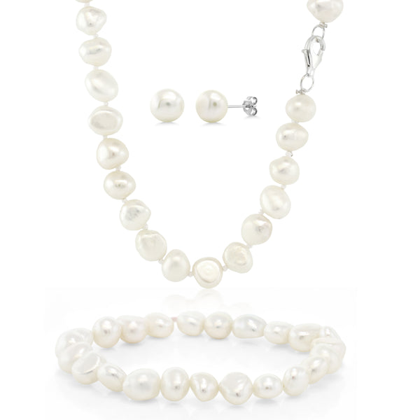 Cultured Freshwater White Pearl 925 Silver Necklace Earrings Bracelet Set