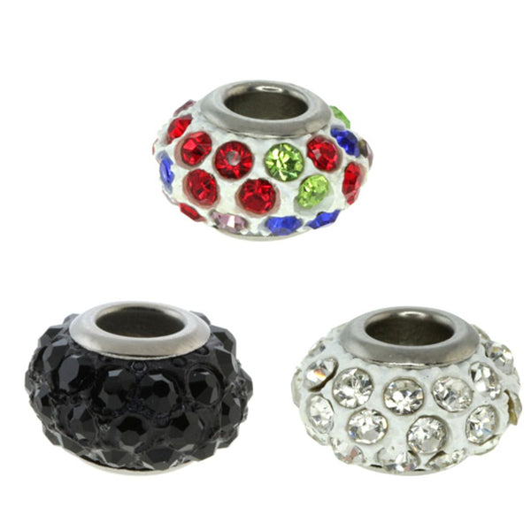 Set of Three Round 14mm Multi-Color Pave Crystal Ball Fits with Beads and Charms