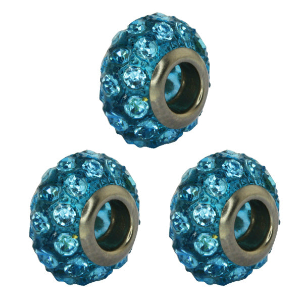 Set of Three 14mm Dark Sky Blue Pave Crystal Ball Fits with Beads and Charms