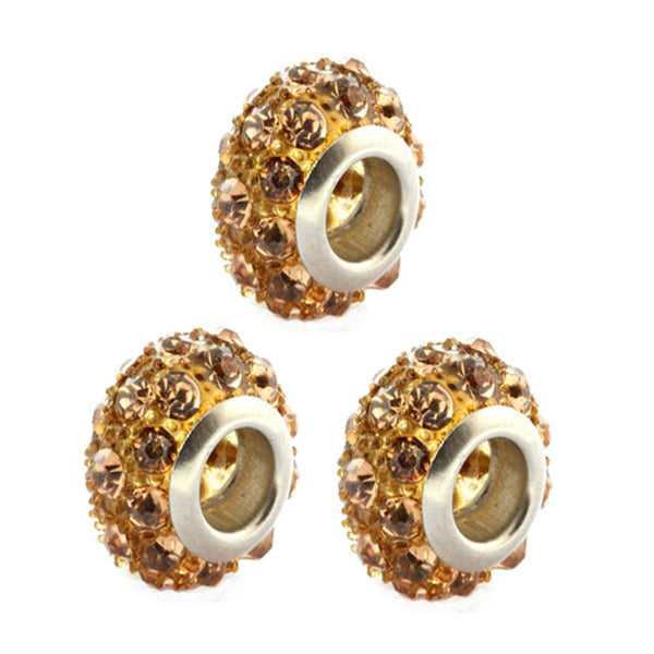 Gem Stone King Set of 3 14mm Golden Yellow Pave Crystal Ball Fits with Beads and Charms