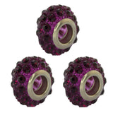 Set of Three 14mm Round Dark Purple Pave Crystal Ball Fits with Beads and Charms