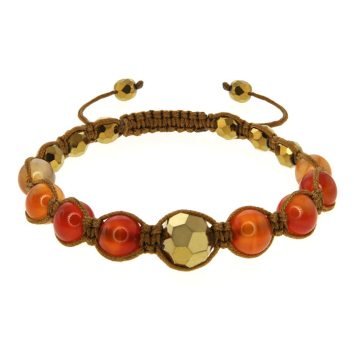 Gem Stone King 8mm Orange Agate and Cross Cut Fancy Beads on Brown String Adjustable Bracelet