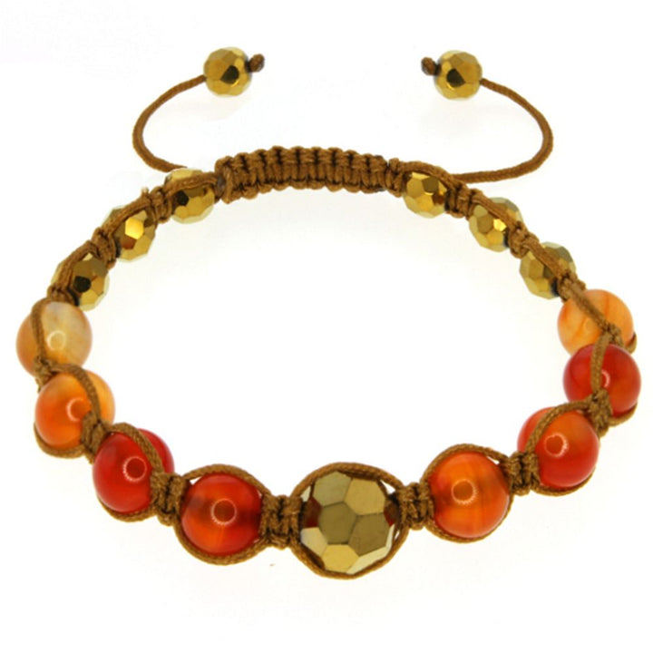 8mm Orange Agate and Cross Cut Fancy Beads on Brown String Adjustable Bracelet