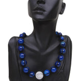 20MM Iced Out  White Pave Disco Ball & Blue Fancy Beads Adjustable Necklace 17MM