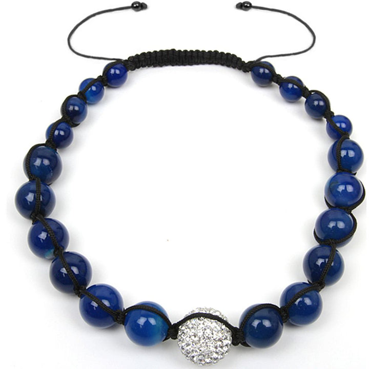 Gem Stone King 20MM Iced Out  White Pave Disco Ball & Blue Fancy Beads Adjustable Necklace 17MM