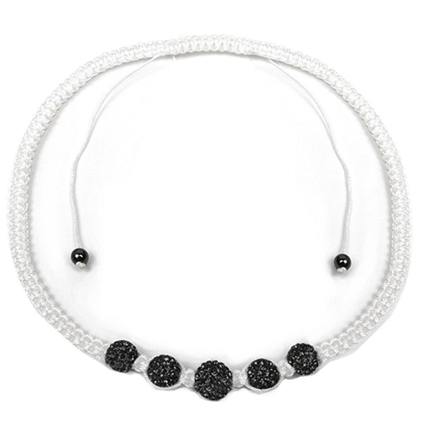 Gem Stone King Stunning 12mm Black & White Micro Pave Crystal Ball Adjustable Necklace(17inches-24inches)