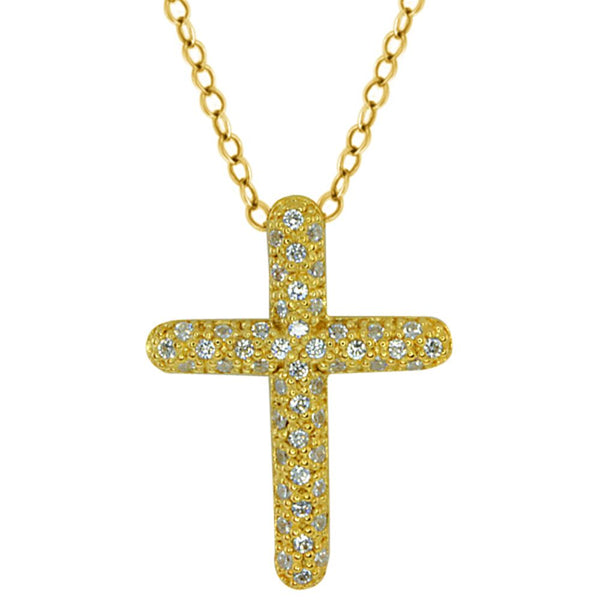 Stunning 925 Sterling Silver Gold Plated CZ Cross Pendant with 18'' Chain